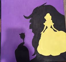 painted canvas of beauty and the beast colors in purple yellow and black canvas