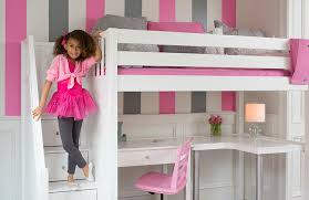 Bunk bed with stairs for girls Triple Girls Bedroom Furniture Set White Pink Loft Bed Lullabye Shop Loft Beds In Appleton Green Bay Wisconsin wi Lullabye Shop
