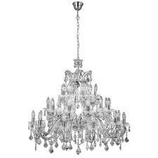 marie therese 30 light chandelier chrome clear crystal led candle e14
