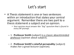 Examples Good Thesis Statement Introduction Under