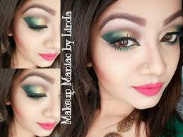 glamourous golden green party makeup tutorial makeup maniac by linda you
