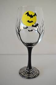 Wine Glass Decorating Designs Halloween Wine Glass Batty MOON HandPainted Large White Wine Glass 2