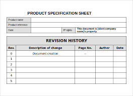 product spec sheet template sample specification sheet template example