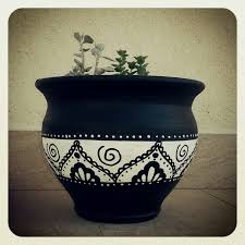 black and white painted terracotta pots awesome painting ideas