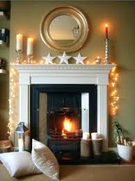 fireplace mantel lighting. Fireplace Mantel Lighting A Decorated With Candles And  Warm White Fairy Lights Fireplace Mantel Lighting