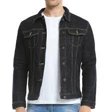 mens premium denim jeans jacket regular fit front on aut
