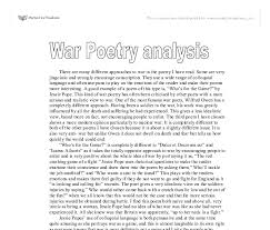 war poetry analysis a level english marked by teachers com document image preview