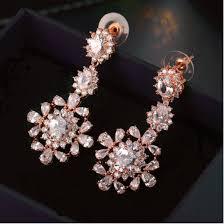 luxury cubic zirconia marquise rose gold chandelier earrings
