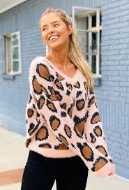 Fuzzy Light Pink Sweater Faith Fuzzy Light Pink Leopard Sweater Groovys