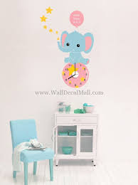 clock of baby elephant wall decals