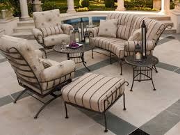 black wrought iron patio furniture with cream cushion chairs and very small round table best set bar vintage manufacturers rustic garden outdoor steel