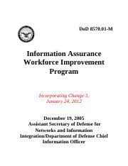 857001m Dod 8570 01 M Information Assurance Workforce