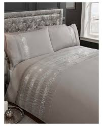 carly diamante grey king size duvet cover set
