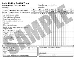 inspection sheet daily inspection checklist for order picking forklift