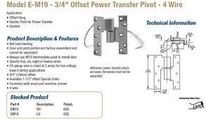 rixson e m offset power transfer pivot wire