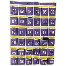 Amazon Com Ozzptuu 36 Pocket Purple Canvas Classroom