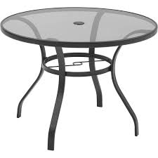 Round outdoor metal table Expanded Metal Walmart Mainstays Heritage Park Round Dining Table Brown Walmartcom