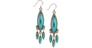 lyst lucky brand gold tone big turquoise chandelier drop earrings in blue