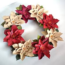 Christmas Paper Flower Wreath How To Make A Paper Poinsettia Wreath Flowers Pinterest