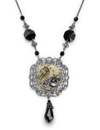 steampunk necklace gold guilloche pocket watch gears silver filigree antique 1900 faceted black swarovski crystal beads briolette chandelier vintage pendant
