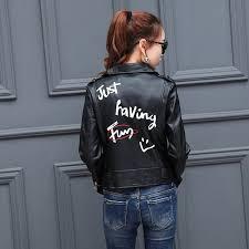 graffiti letter print black faux leather jacket women bandageg hem zipper motorcycle biker short coat outerwear