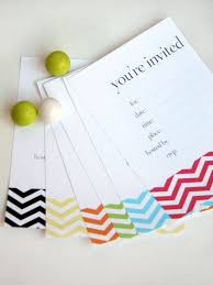 printable birthday invitations for all ages chevron birthday invitations laying on a table