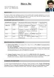 Resume Format For Mba Marketing Fresher