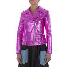 details about italian handmade women genuine lamb leather biker jacket metallic hot pink