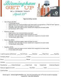 Sponsor Template Form Sponsorship Form K Sponsor Sheet Doc