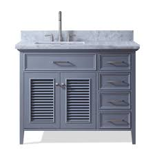 dkb 43 inch hartford series left offset single sink bathroom vanity set in grey with carrara white marble countertop no mirror com
