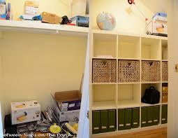 ikea expedit in closet for office and craft room storage and organization