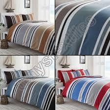 stripe reversible print quilt duvet cover bedding set blue black grey cream red