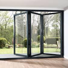 grey aluminium folding kitchen door open