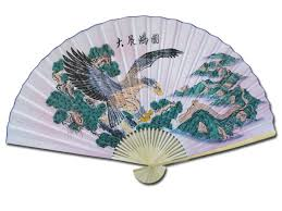 large 84 folding chinese wall fan oriental paper hanging eagle