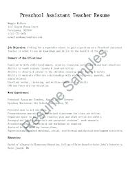 Example Of Teacher Resume Best Assistant Teacher Resume Assistant Teacher Resume Sample Amazing