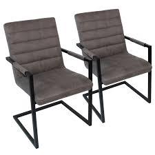 Esszimmer Stühle Freischwinger Set Neele 2 Stühle Mit Armlehnen Büffelleder Optik Grau
