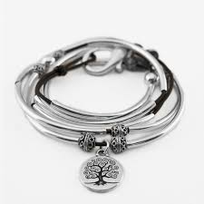 april with tree of life charm natural black small bracelet by lizzy james