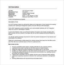 free sap business analyst job description sample template data warehouse analyst job description