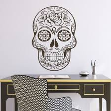 office wall stickers. Sugar Skull Mexico Floral Swirl Office Wall Art Vinyl Sticker Decal Adesivo De Parede Home Decor Stickers Mural 64\
