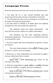 Pronoun Antecedent Agreement Worksheet 2 With Answers - Alleghany ...