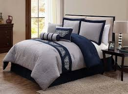 navy blue and grey bedding color
