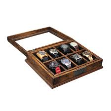 new personalized rustic men s watch box for 8 watches glass top new personalized rustic men s watch box for 8 watches glass