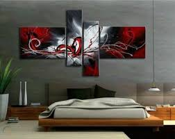 oil paintings red black white home