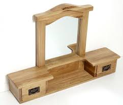... Rustic Light Oak Dressing Table Mirror with Drawers | Vancouver  Guarantee