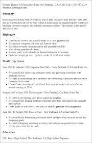 Resume Templates: Retail Parts Pro