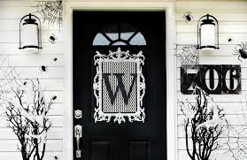 front door monogramFour Ideas For Inexpensive Halloween Door Decorations