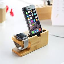 cell phone charger dock with watch bamboo holder desk wood charging stand for iphone 7 plus for apple watch stand