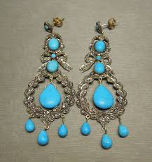 french inspired 18kt sterling silver persian turquoise rose cut diamond edwardian chandelier earrings