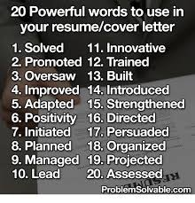 Words To Use In Cover Letters 20 Powerful Words To Use In Your Resumecover Letter 1 Solved 11