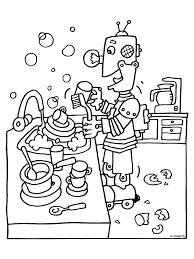 Kleurplaat Robot Doet De Afwas Kleurplatennl